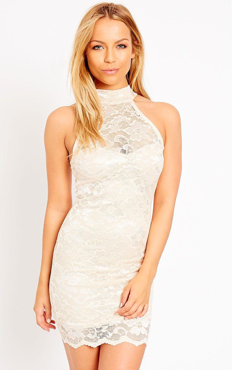 Soffi Peach High Neck Lace Bodycon Dress 1