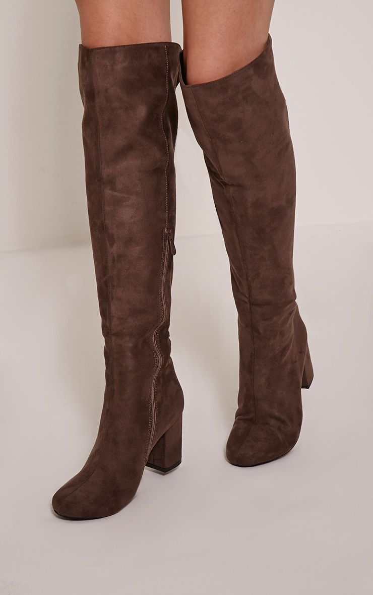 Sharan Taupe Faux Suede Laced Up Boots 1