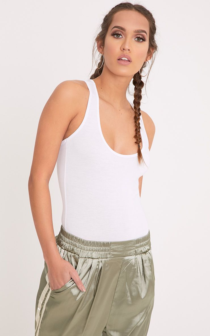 Basic White Racer Back Bodysuit