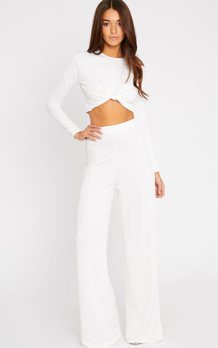 Zafia Cream Crepe Palazzo Trousers 1