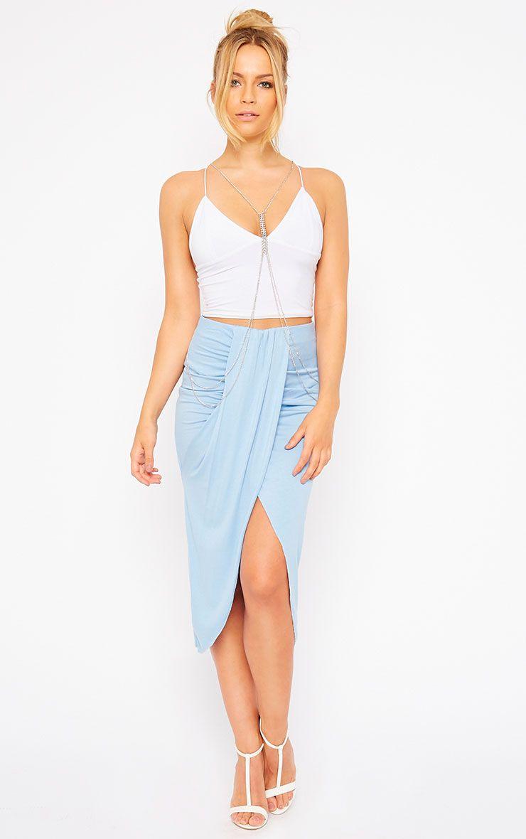 Ivana Powder Blue Drape Midi Skirt 1