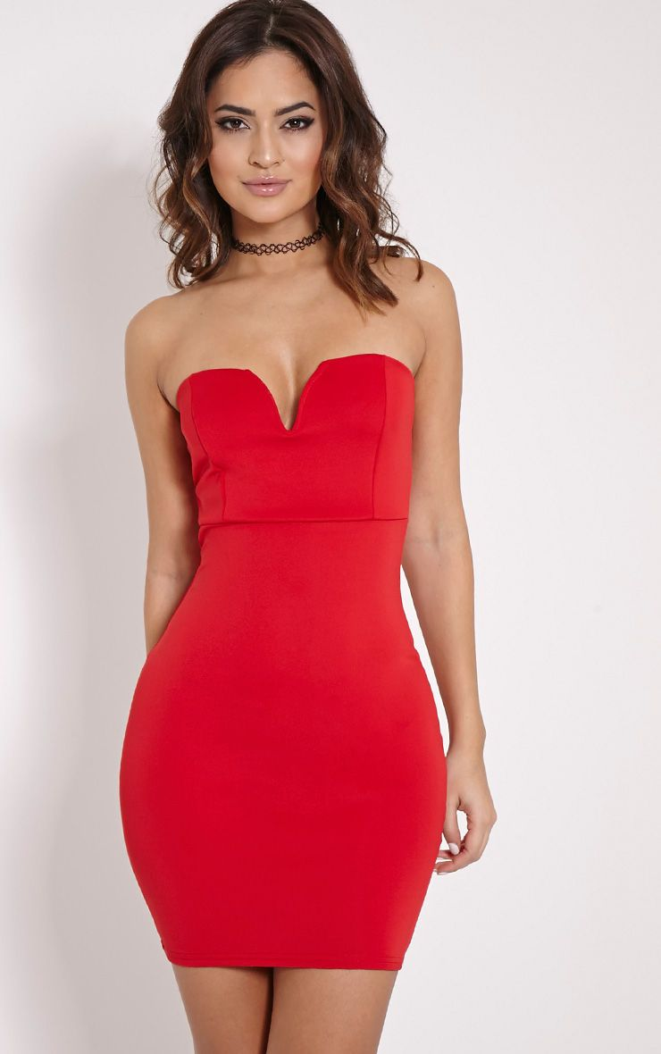 Michelle Red Bandeau Dress 1