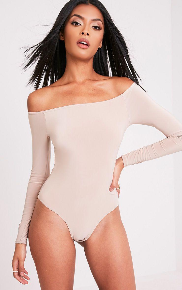 Rossalyn Nude Slinky Bardot Bodysuit