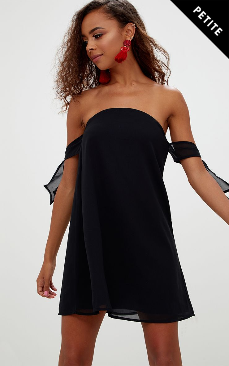 Petite Black Tie Sleeve Swing Dress