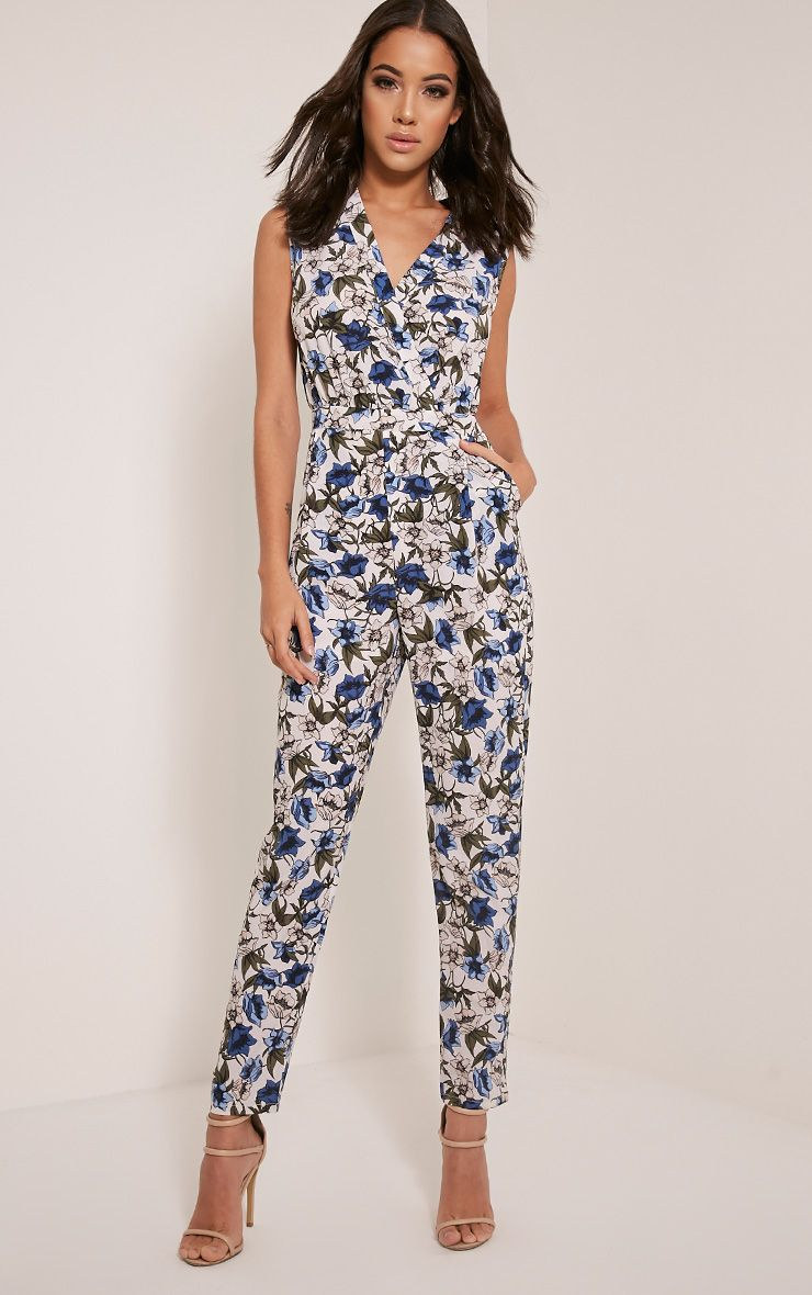Tess White Floral Print Jumpsuit White