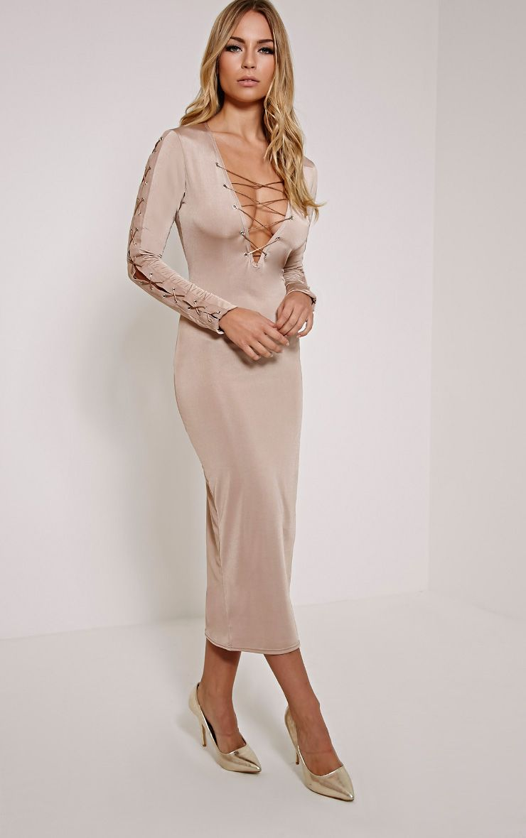 Rea Taupe Lace up Side Midi Dress 1