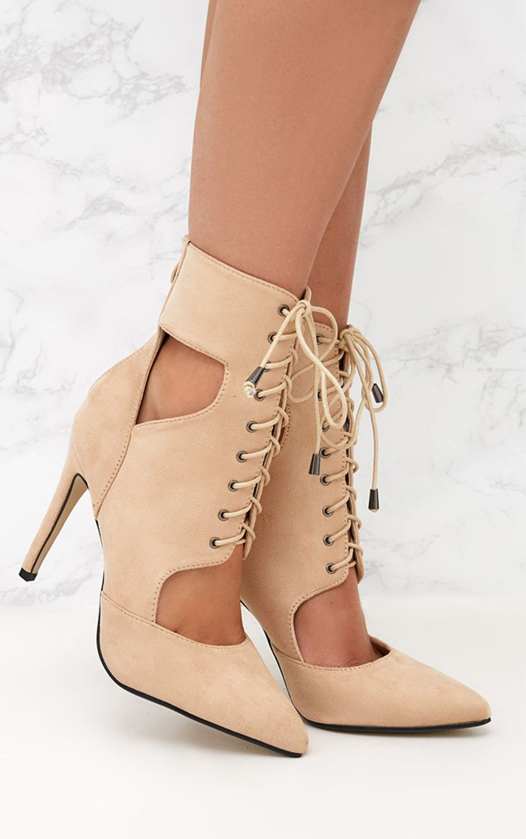 Nude Cut Out Faux Suede Lace Up Heeled Ankle Boot