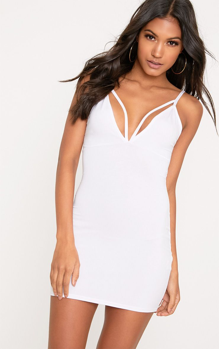 Riana White Strap Detail Bodycon Dress