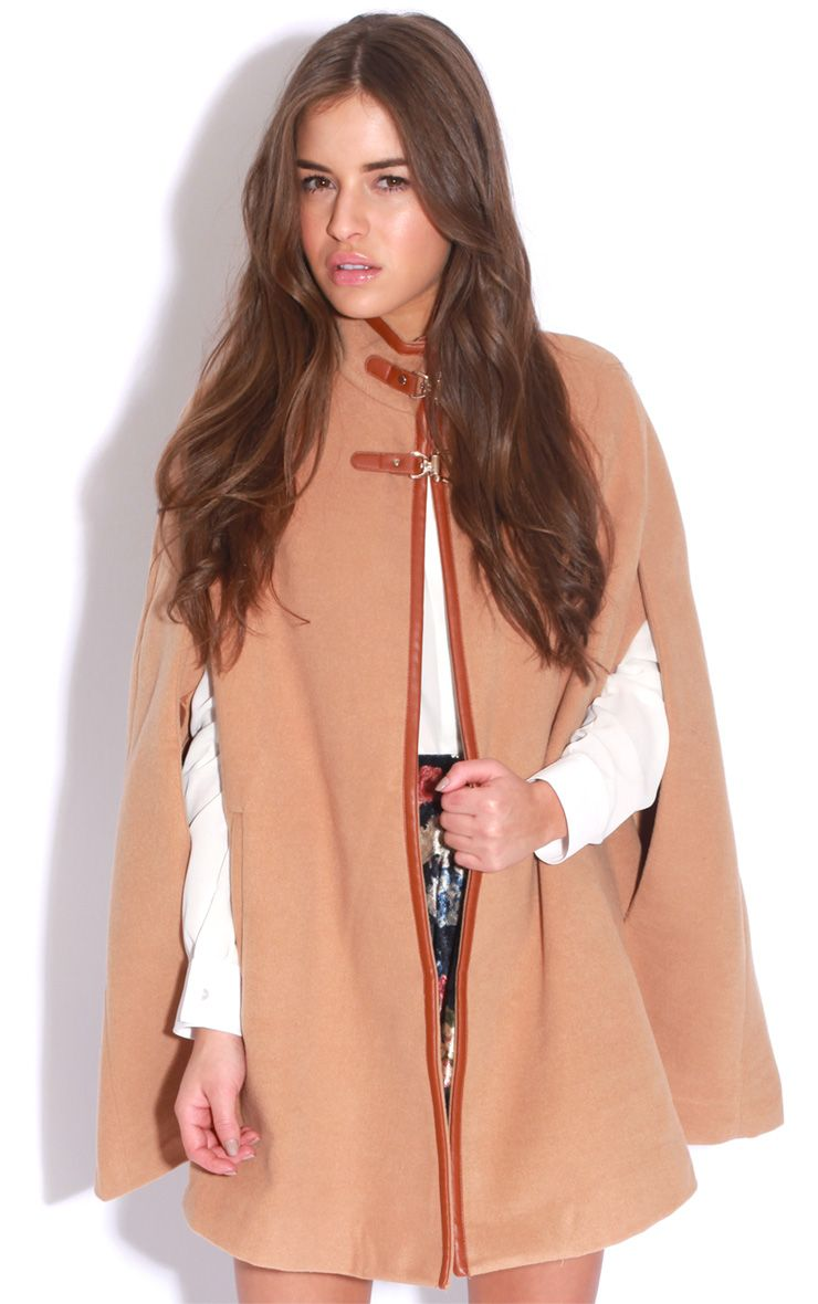 Renata Beige Buckle Cape Coat 1