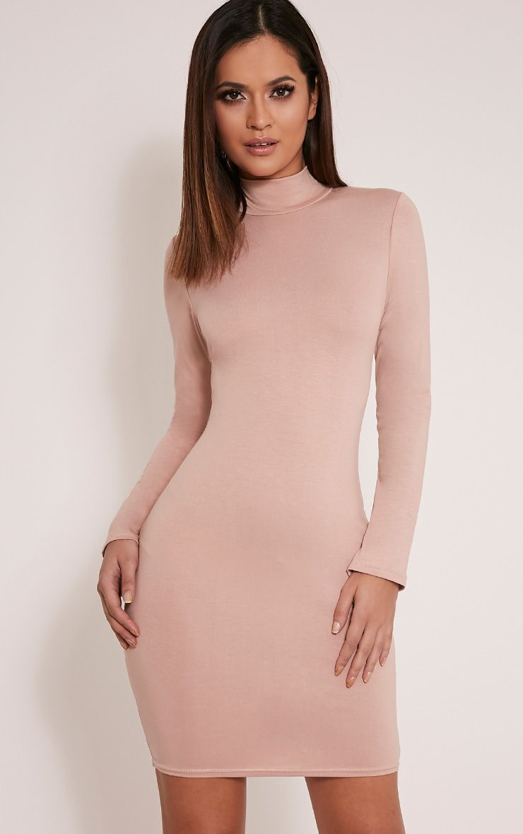 Basic Taupe Long Sleeve Bodycon Dress 1