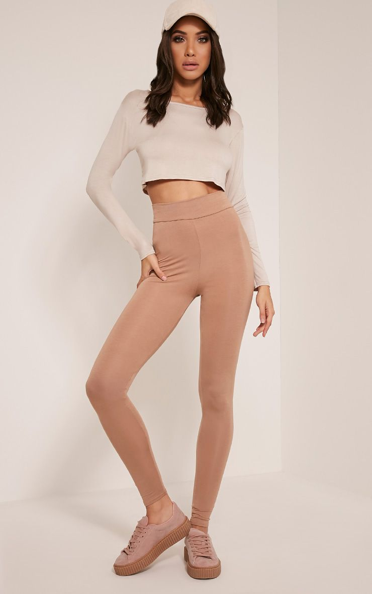 Basic Camel High Waisted Jersey Leggings