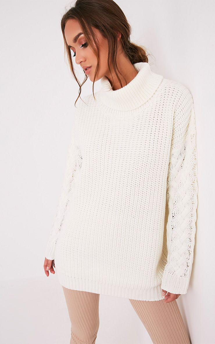 Finolla Cream Oversized Cable Knit Sleeve Jumper