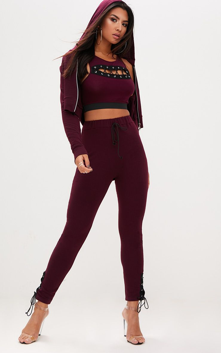 Burgundy Lace Up Side Joggers
