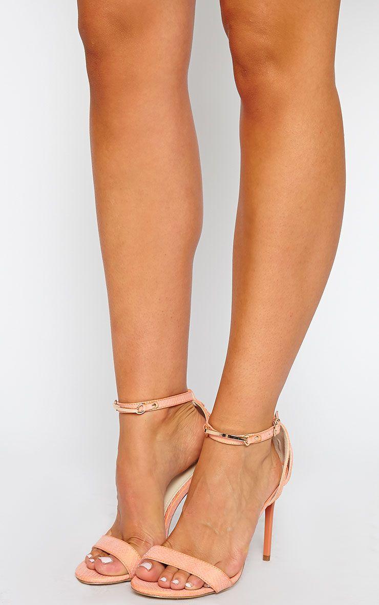 Deia Orange Snake Gold Bar Heeled Sandals 1