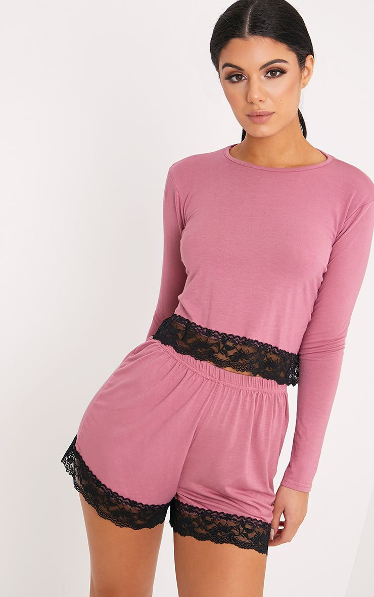 Georgie-May Rose Eyelash Lace Trim Jersey Short PJ Set