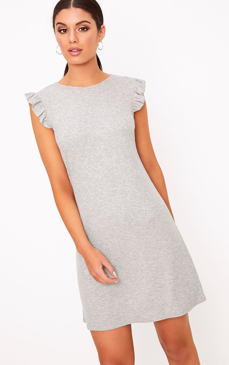 Grey Marl Jersey Sleeveless Frill Sleeve Shift Dress