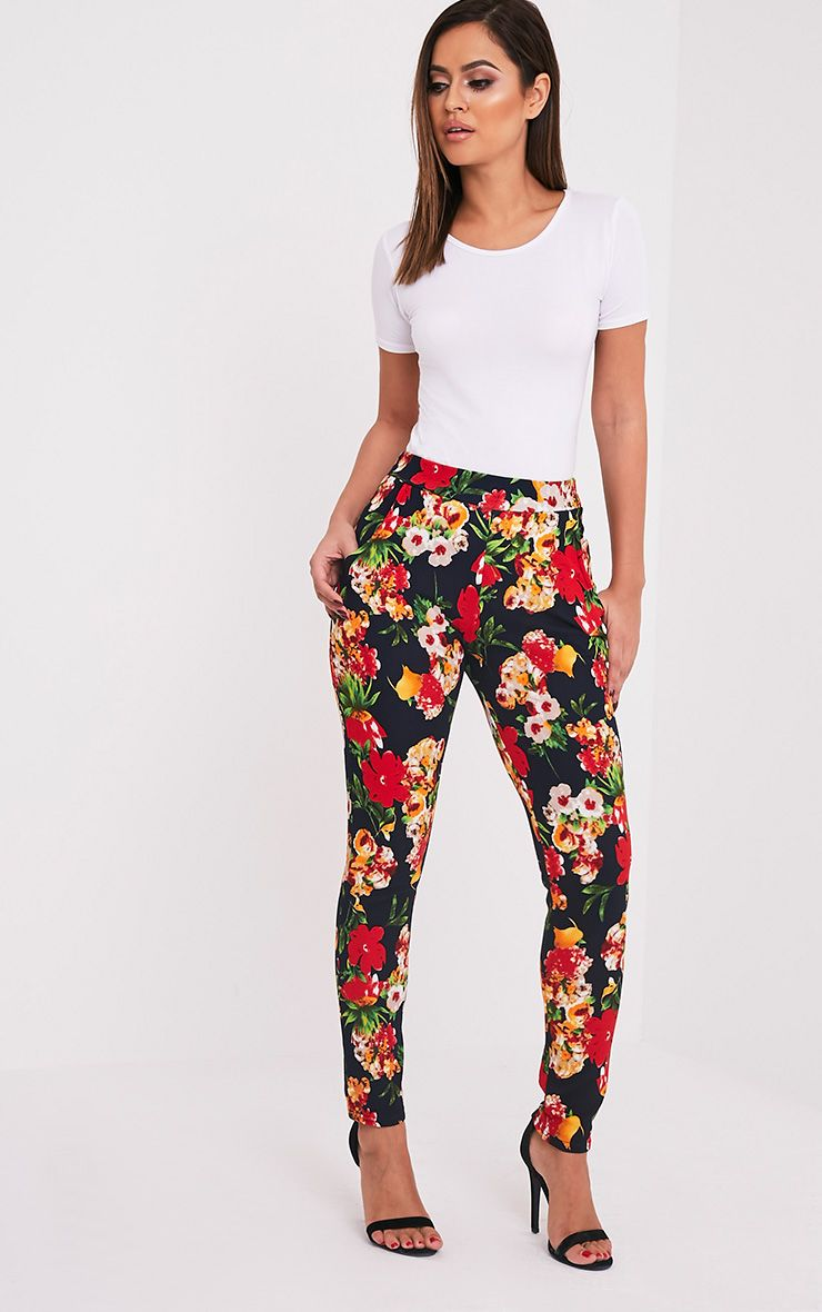 Karolina Red Floral Crepe Cigarette Trousers 1
