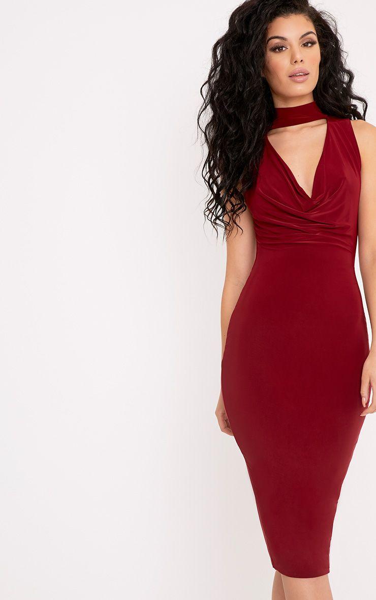 Nayasha Burgundy Slinky Choker Wrap Midi Dress