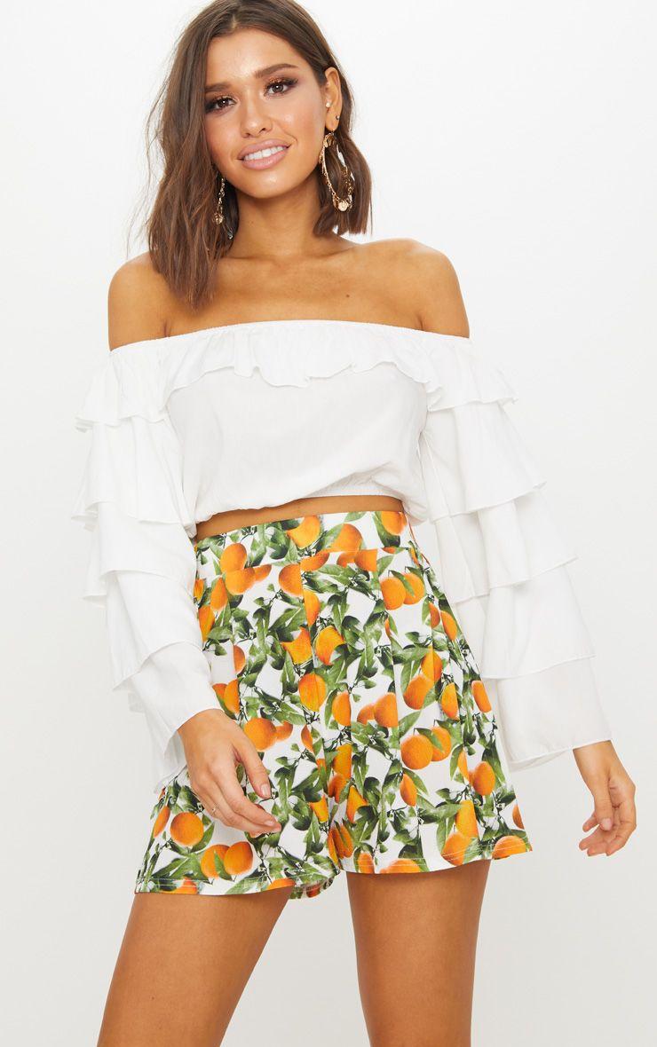 White Fruit Print Floaty Crepe Shorts