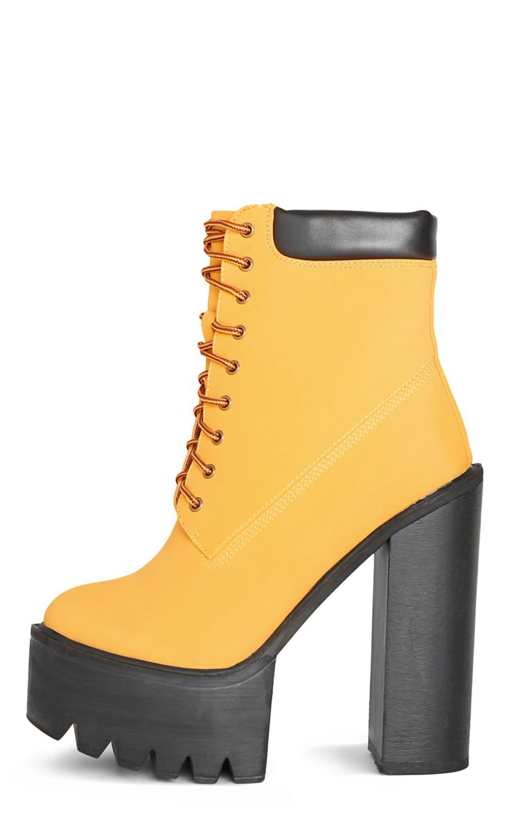 Imani Honey Lace Up Cleated Heel Boot 1