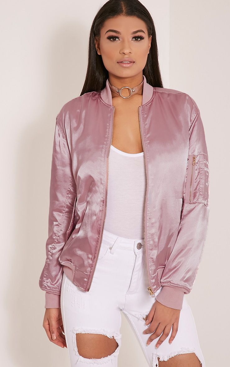 Cruz Dusty Pink Satin Oversized Bomber Jacket 1