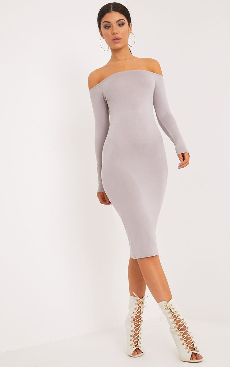 Basic Dove Grey Jersey Bardot Midi Dress