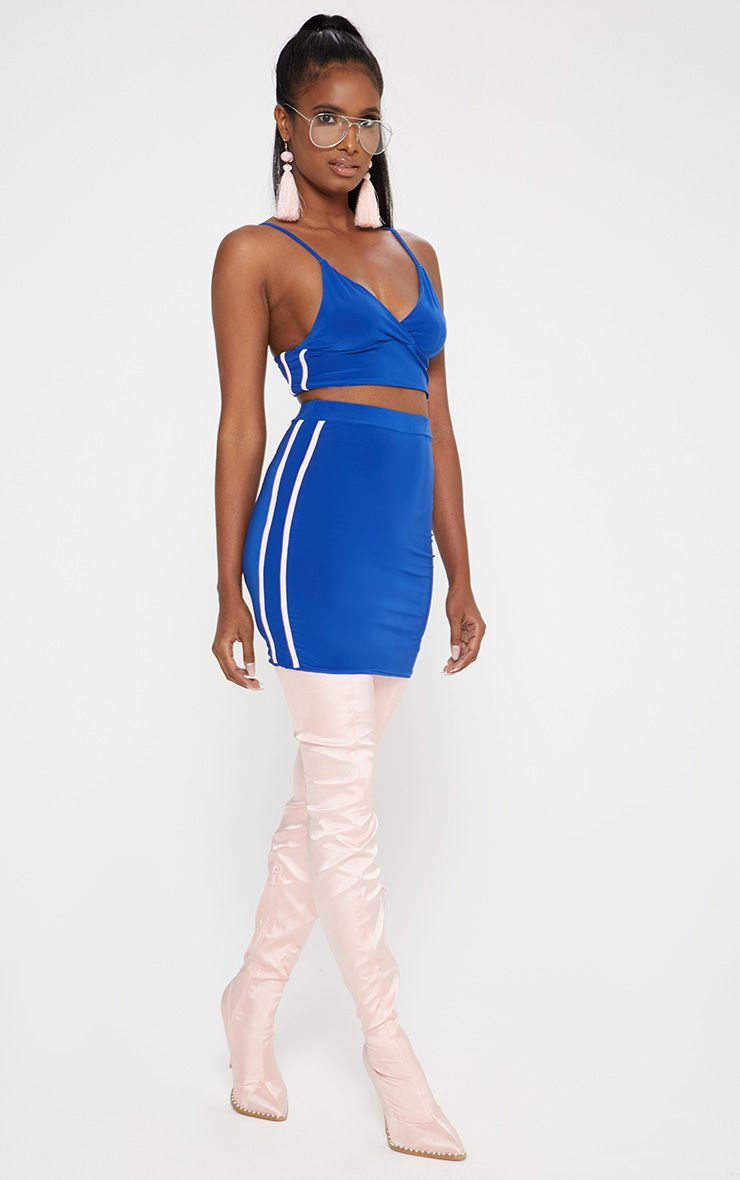 Cobalt Blue Slinky Sports Stripe Mini Skirt