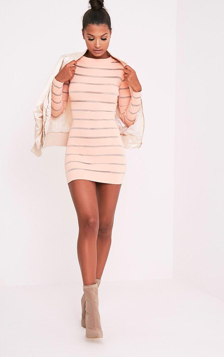 Jamesina robe mini tricotée chair à empiècements en tulle 5