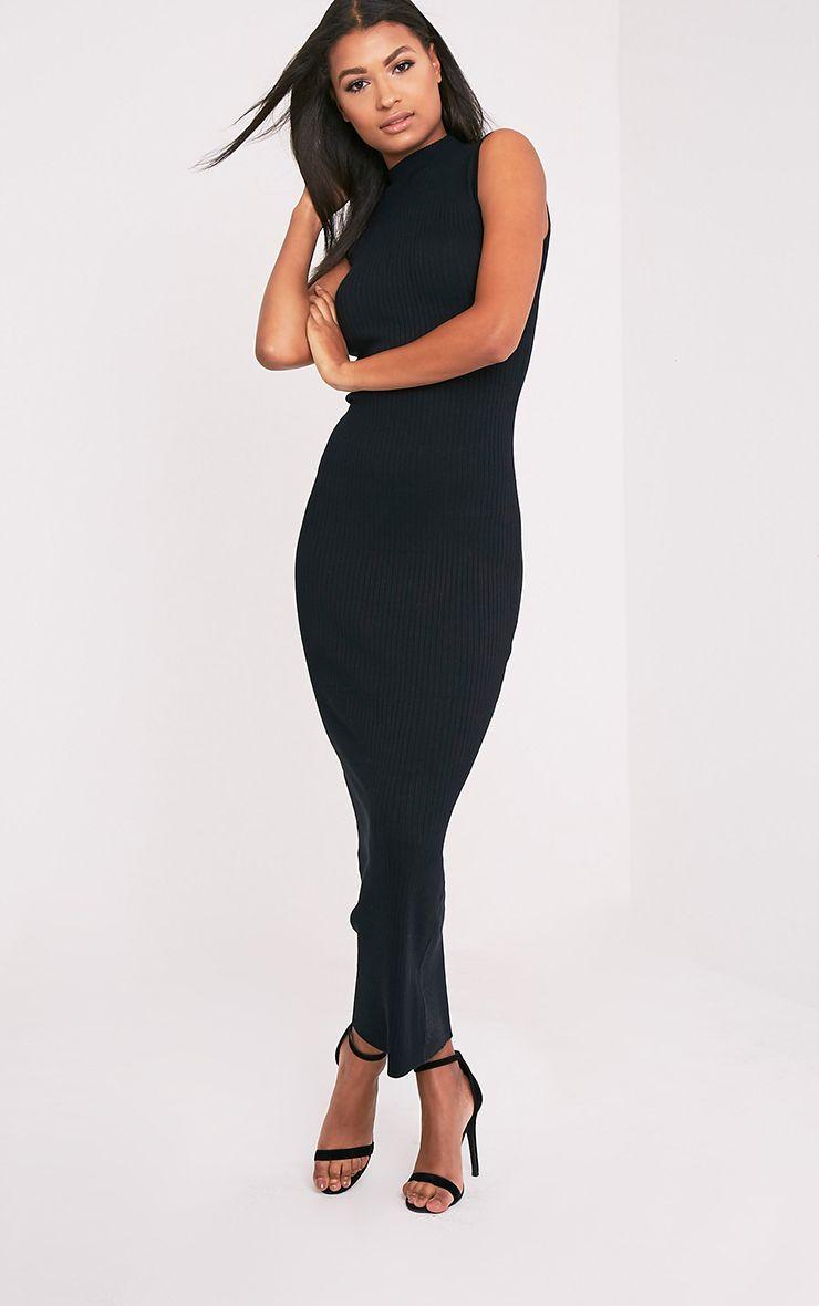 0bb663e3e53ee1 Zeva Black Ribbed Sleeveless Knitted Maxi Dress - Knitwear ...
