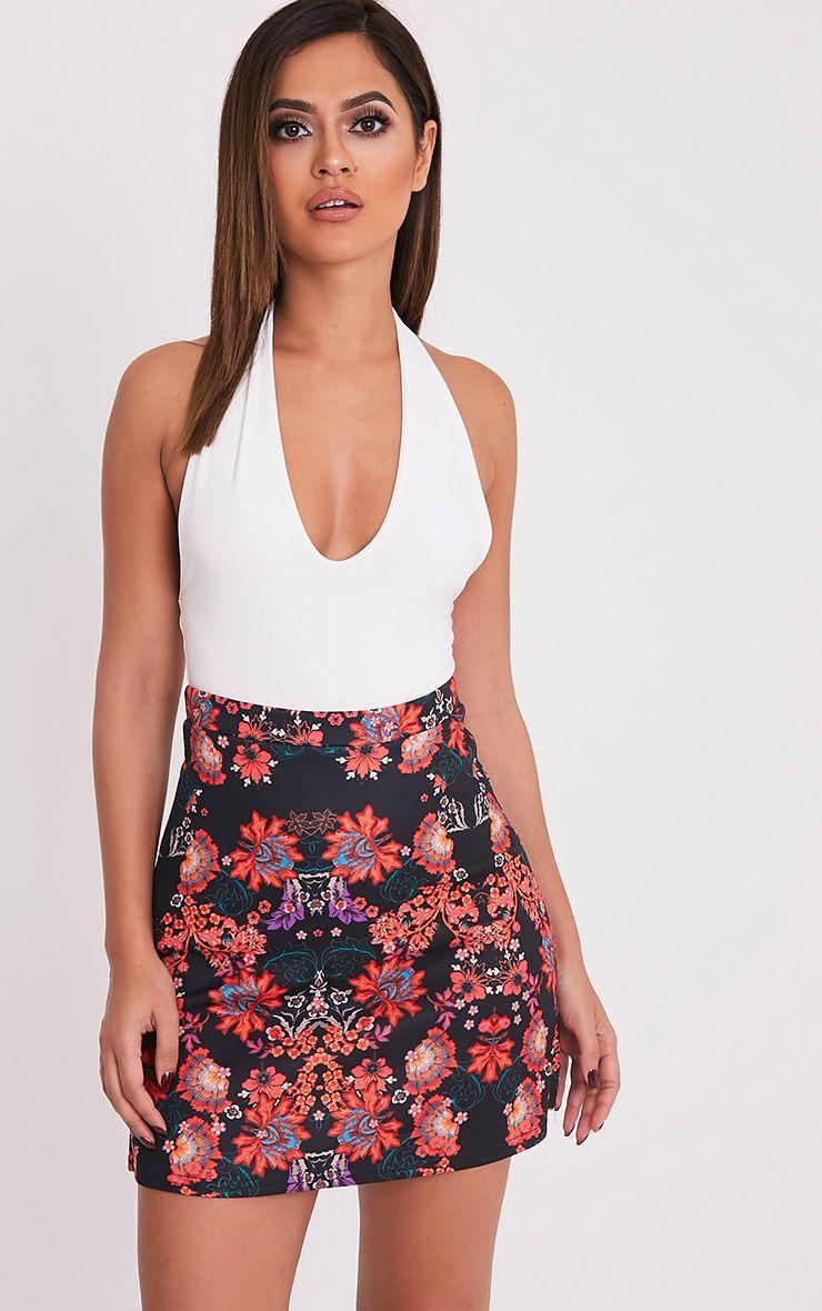 Deltie Black Oriental Print A-Line Mini Skirt 1