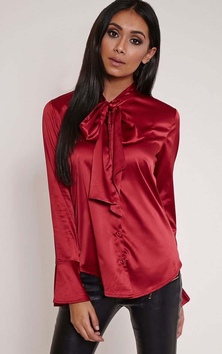 Amelia Red Satin Pussybow Blouse 1