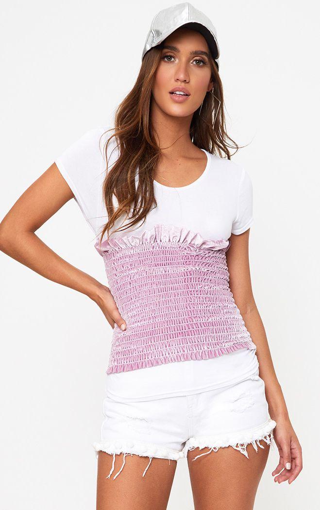 White Velvet Shirred Detail T Shirt