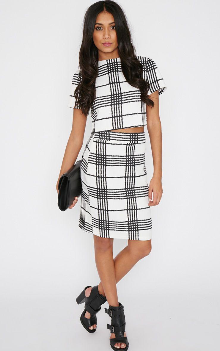 Jemma Monochrome Checked Skirt 1