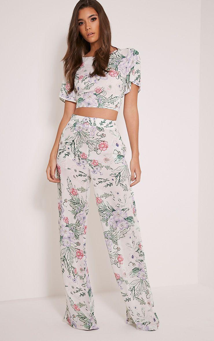 Alicia Cream Floral Palazzo Trousers 1