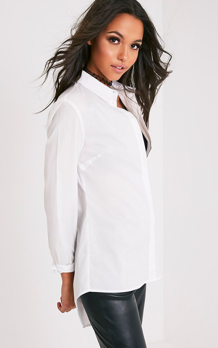 Analyn White Drop Hem Shirt