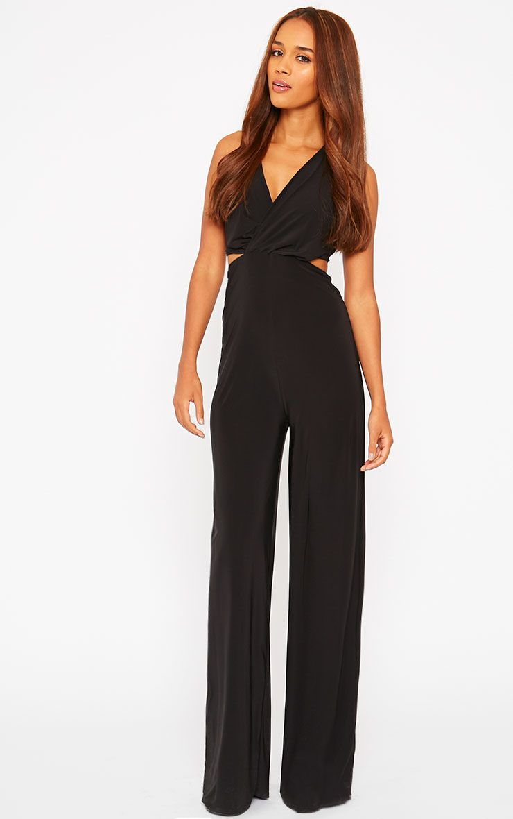 Tullia Black Slinky Cross Front Wide Leg Jumpsuit 1