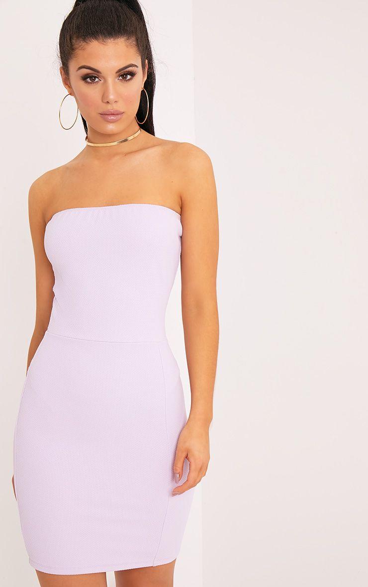 Loriella Lilac Textured Bandeau Bodycon Dress