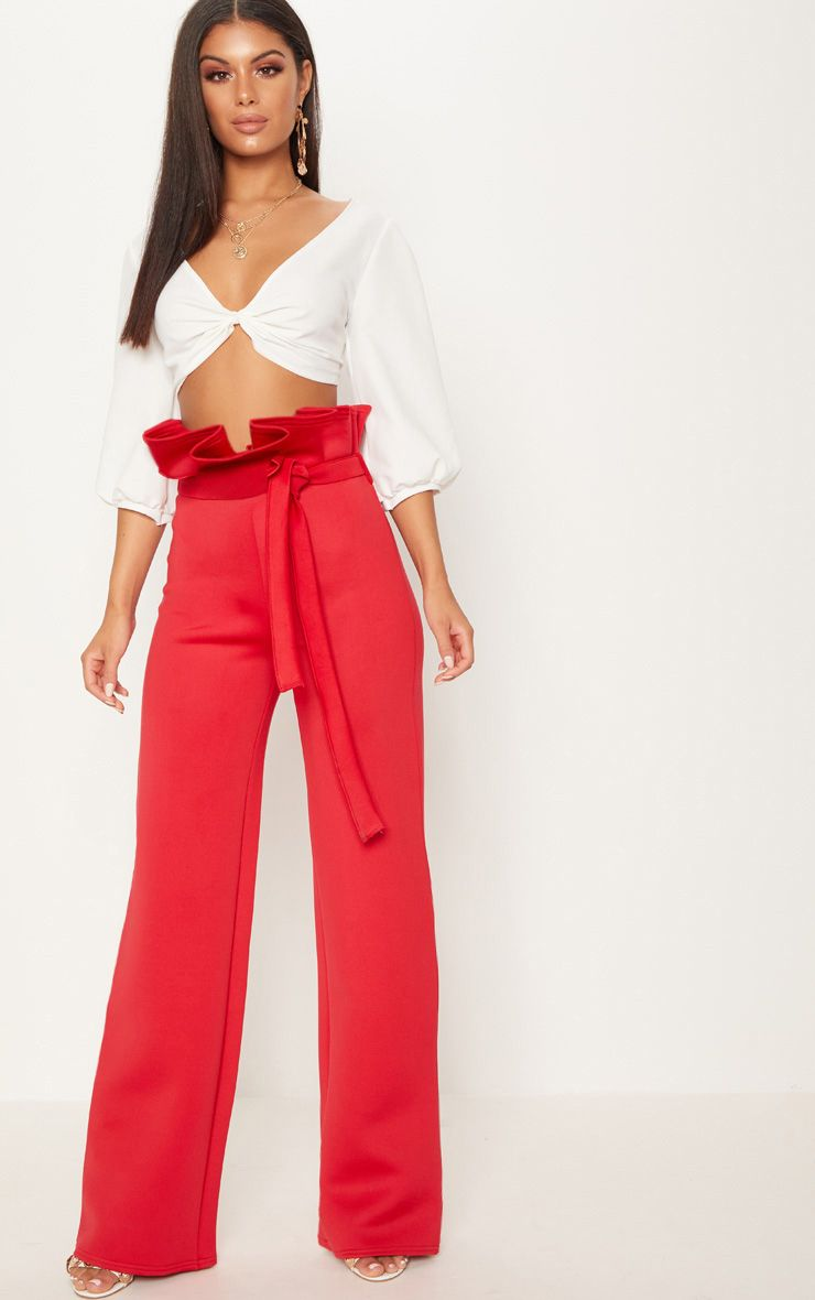 red Scuba Extreme Paperbag Wide Leg Trouser