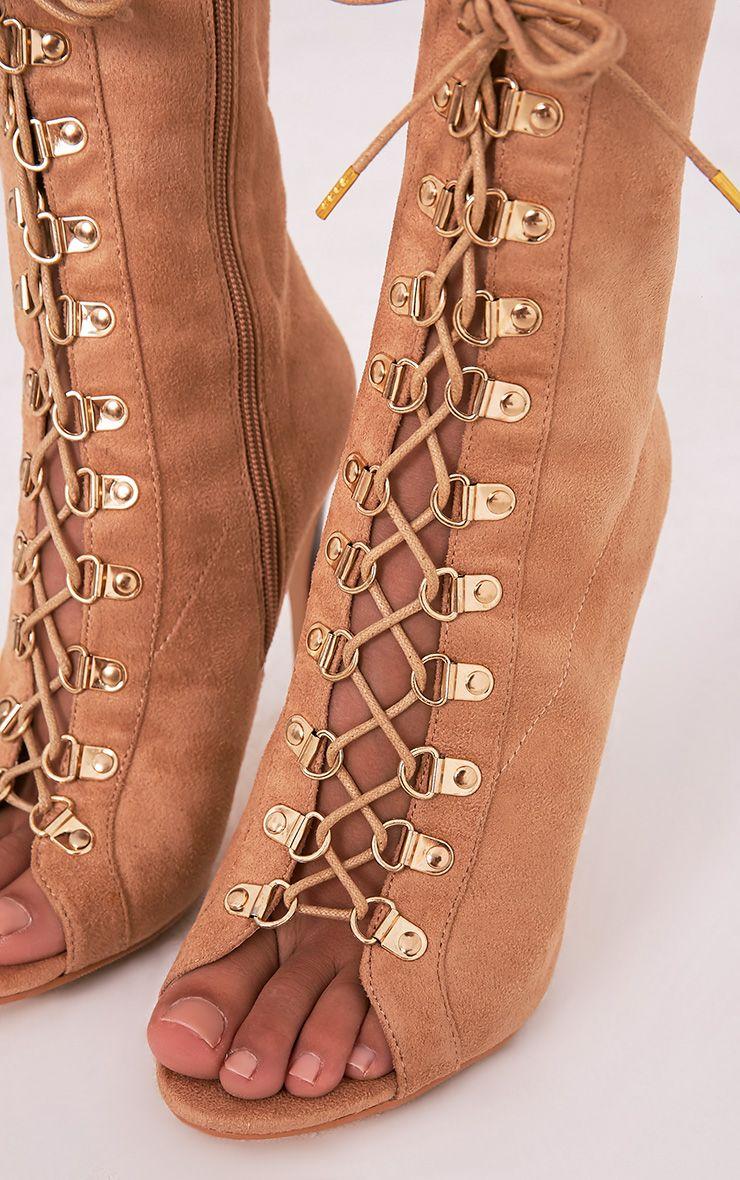 Elina bottines camel à bout ouvert à lacets 5