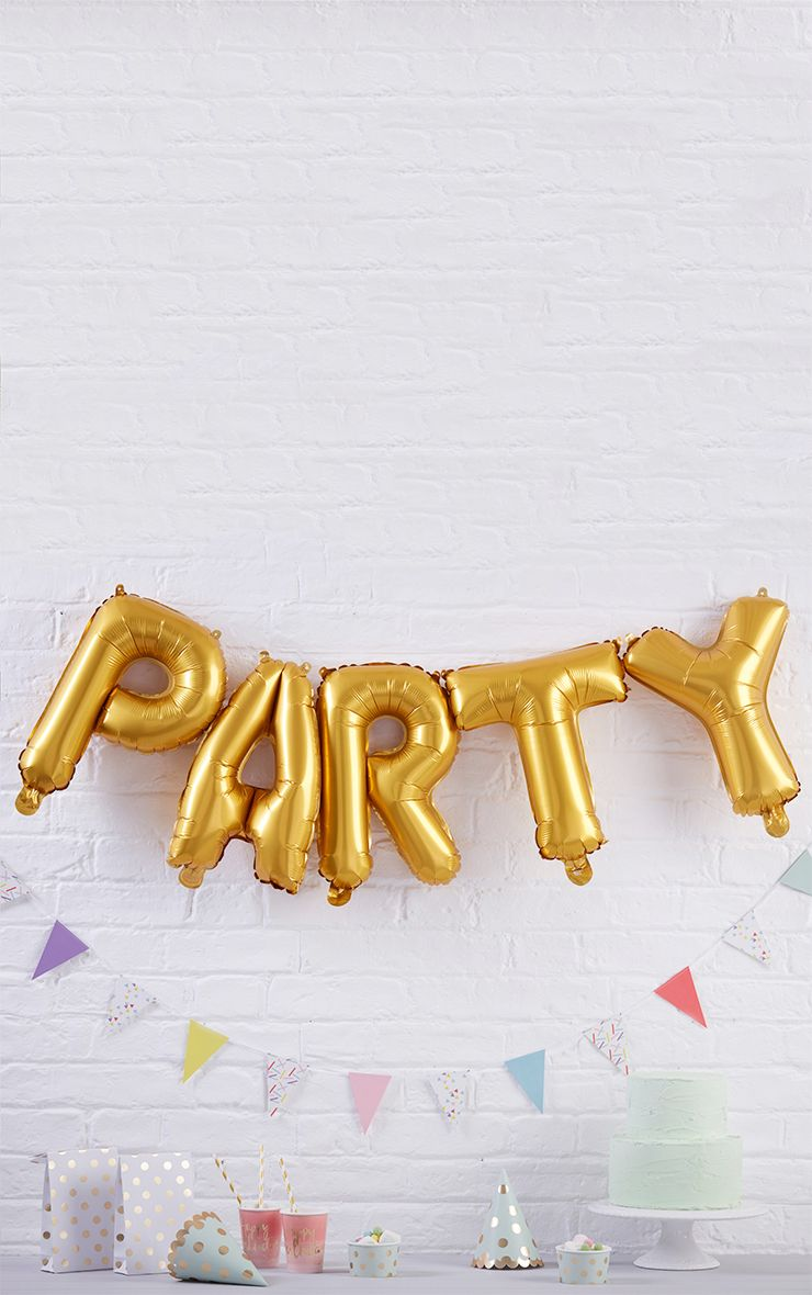 Gold 'Party' Balloon Bunting