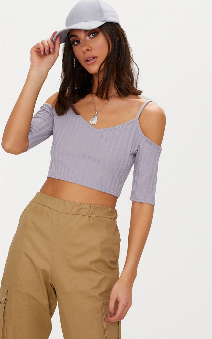 Grey Rib Knit Cold Shoulder Crop Top