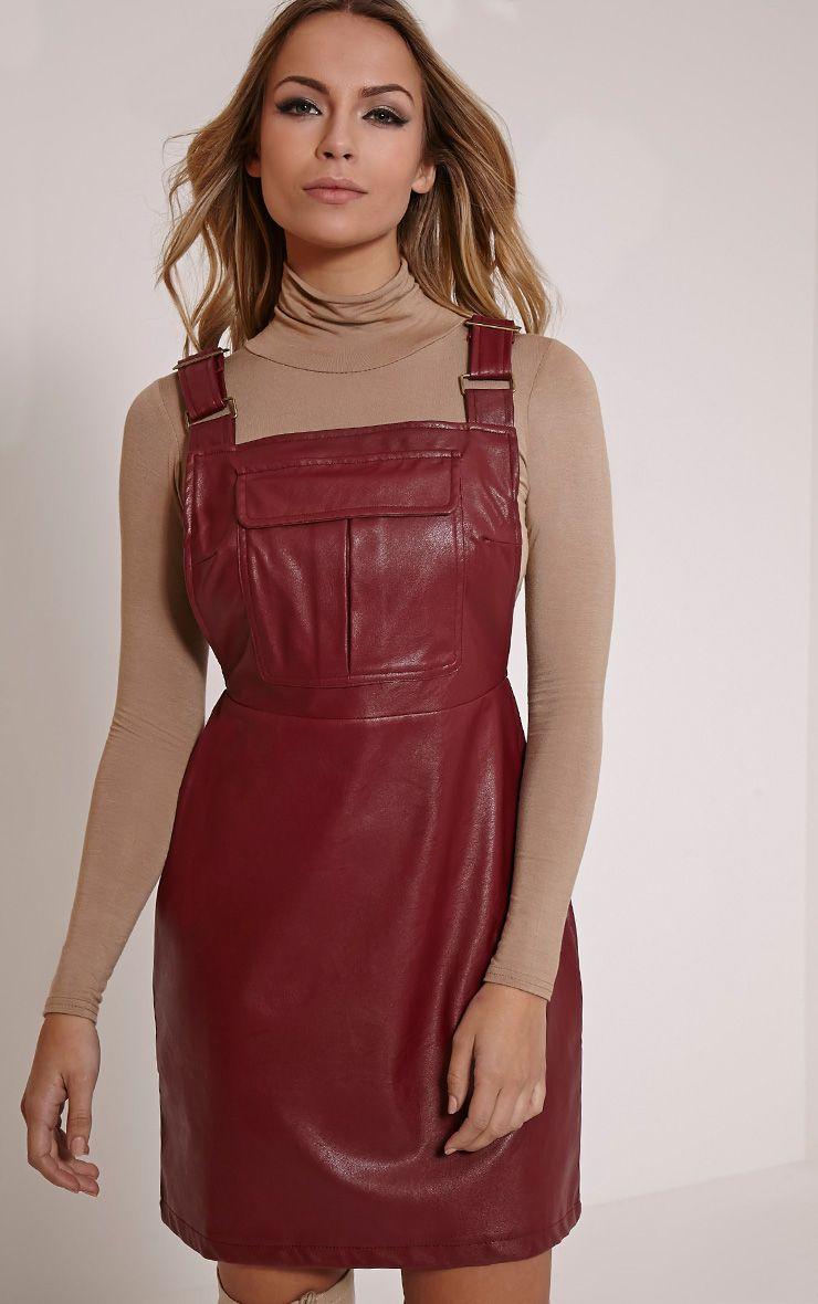 Myra Burgundy Faux Leather Pinafore Dress 1