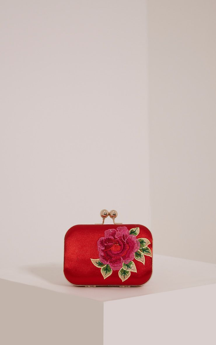 Angela Red Rose Embroidered Clutch Bag Red