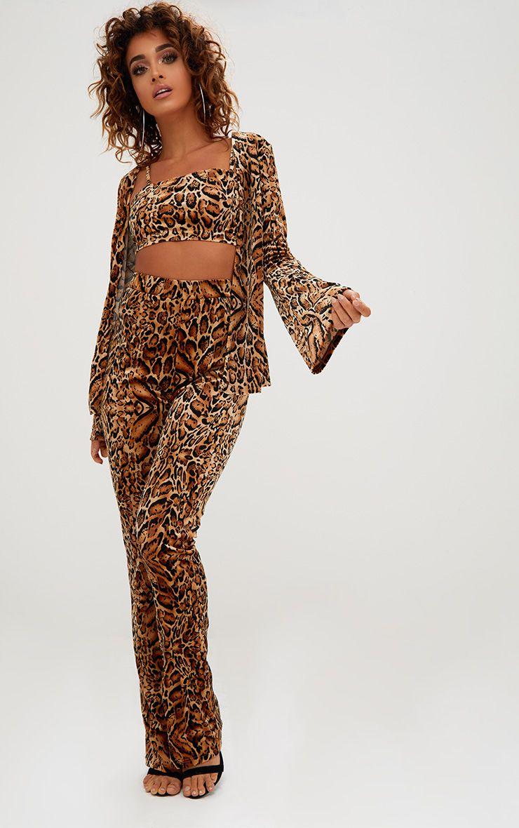 Blazer en velours imprimé léopard