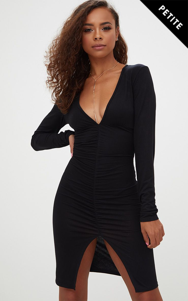 Petite Black Plunge Ruched Front Midi Dress