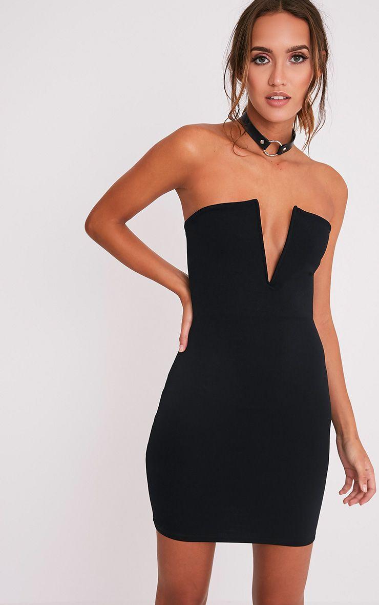 Sofia Black V Plunge Bandeau Bodycon Dress