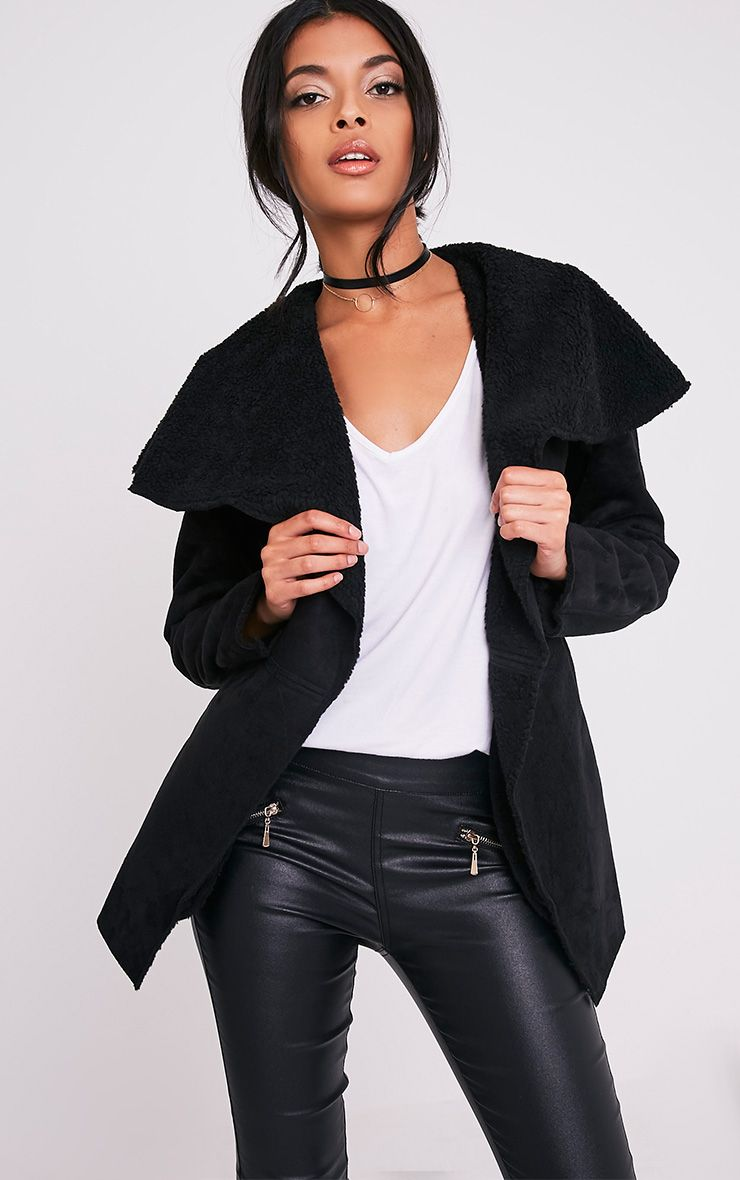 Irise Black Faux Suede Shearling Aviator Style Coat 1