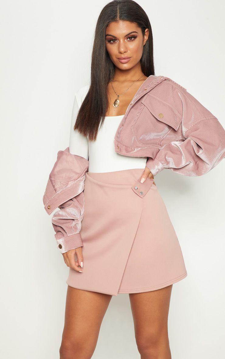 Rose Scuba Button Detail Wrap Skirt
