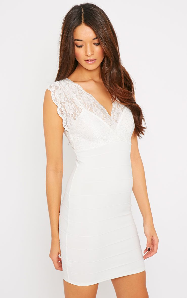Christy White Lace Crossover Bandage Dress 1