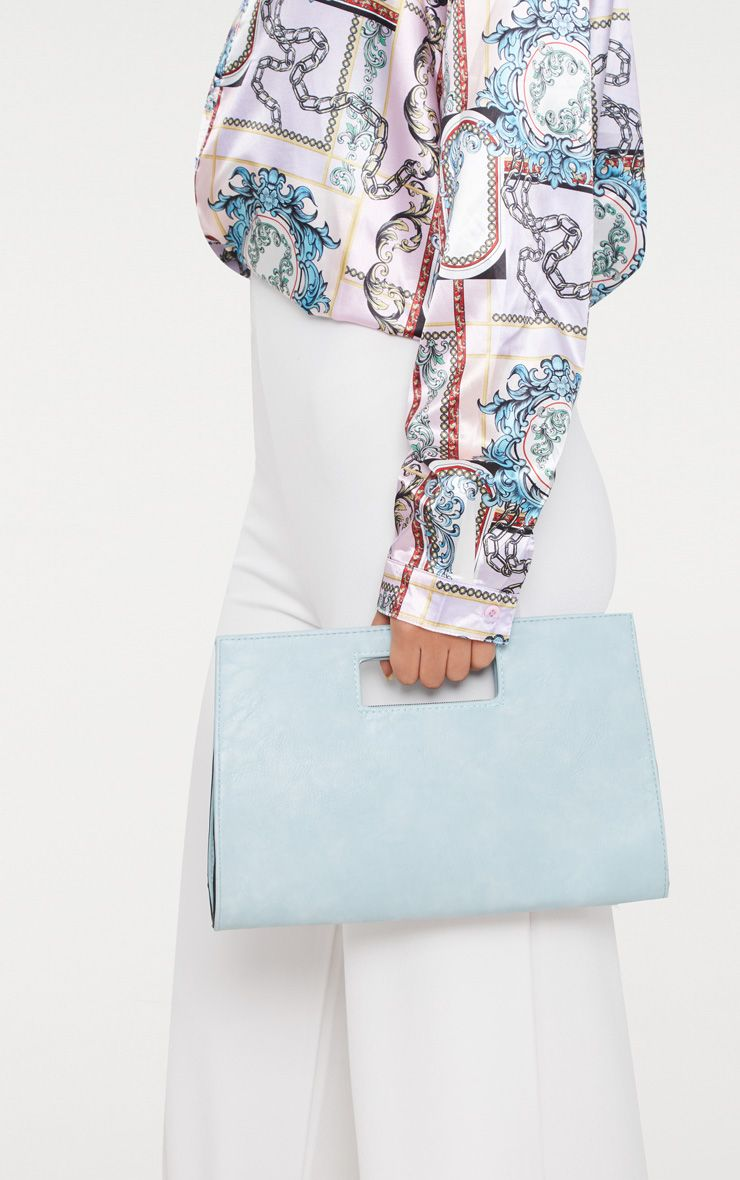 Light Blue Cut Out Handle Clutch Bag
